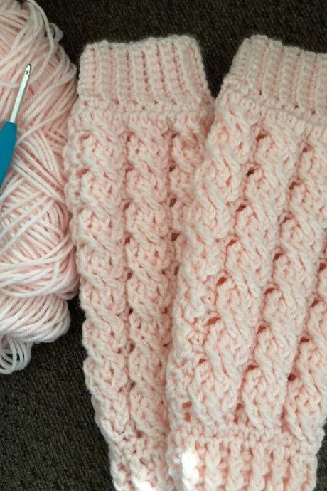 Celeste Leg Warmers handmade for little girls in pretty pink