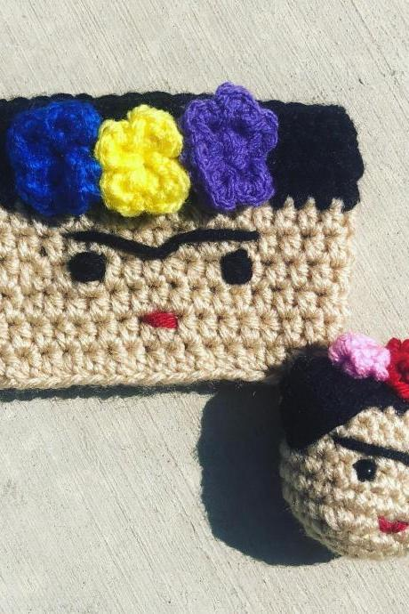 Frida Kahlo inspired cup cozy and keychain set
