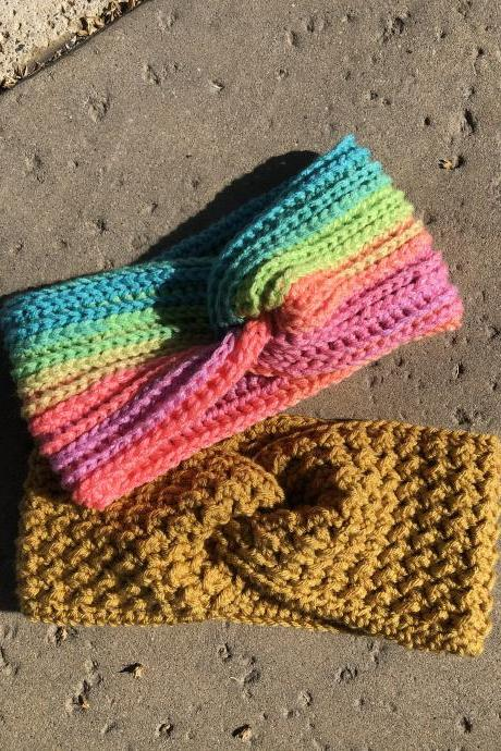 Cozy headband/ear warmer in yellow mustard