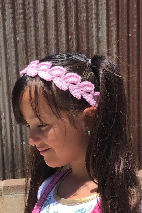 Boho Crochet summer head band in pink