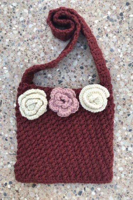 Boho Purse in Crochet with Flowers