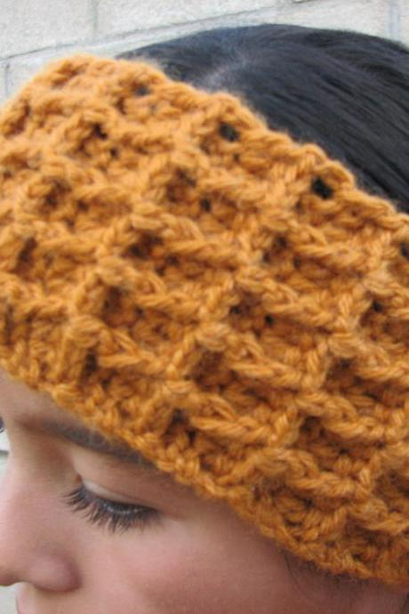 Earwarmer in Waffle or 3D stitch crochet headband handmade