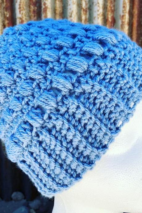 Crochet Light Blue Cozy beanie