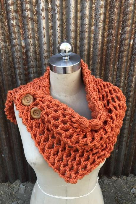 Neck warmer, shawl, button cowl in orange