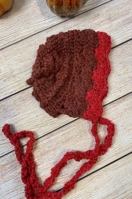 Baby Bonnet hats in crochet reds.