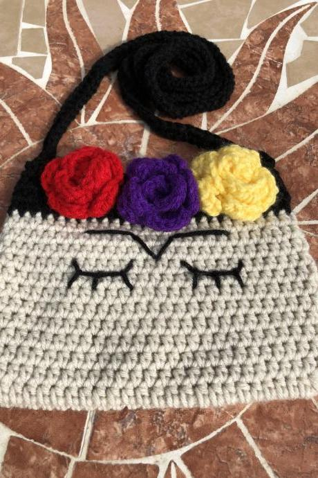 Frida Kahlo inspired crochet purse.